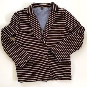 J Crew Striped Blazer Medium Black Tan Stretch